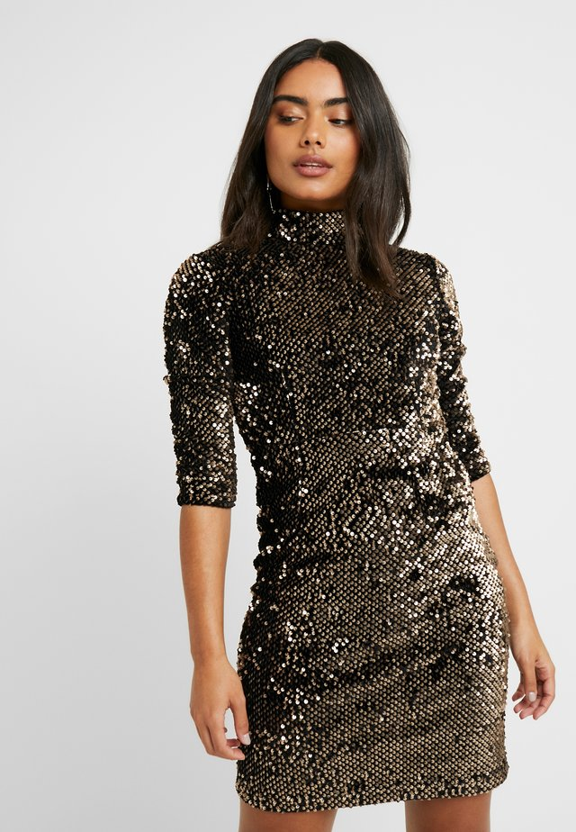 SEQUIN HIGH NECK DRESS - Cocktail dress / Party dress - gold