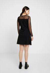 Dorothy Perkins Petite - DOBBY FIT AND FLARE DRESS - Vestito di maglina - black - 2