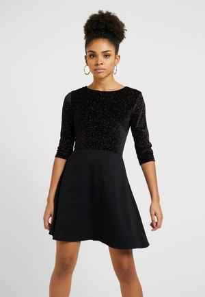 GLITTER FIT AND FLARE DRESS - Vestito di maglina - black