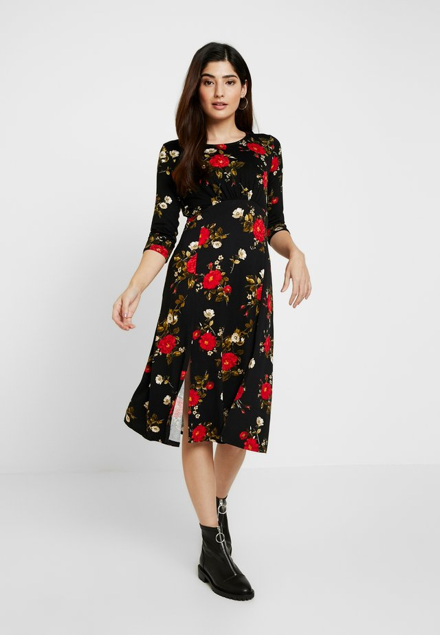PETITE PRINT LONG SLEEVE MIDI - Jersey dress - black