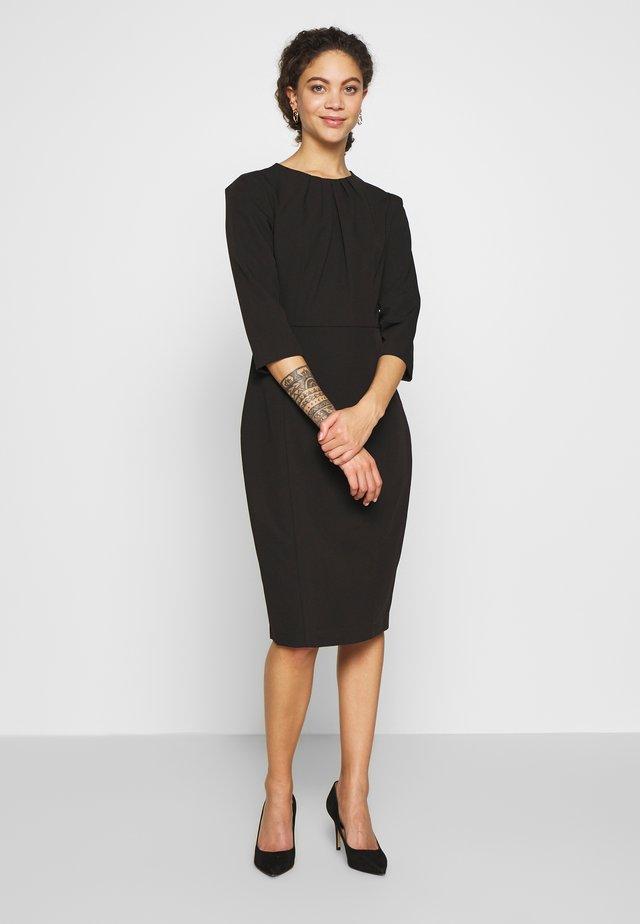 HIGH NECK SLEEVE DRESS - Shift dress - black