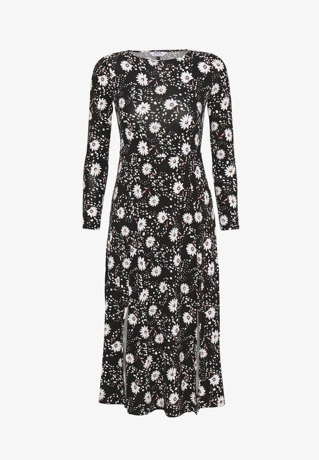 DAISY DOT SPLIT MIDI DRESS - Sukienka z dżerseju - black