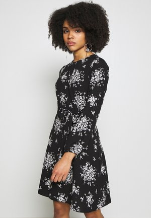 PETITES MONO CLUSTER FLORAL LONG SLEEVE FIT AND FLARE DRESS - Vestido informal - black