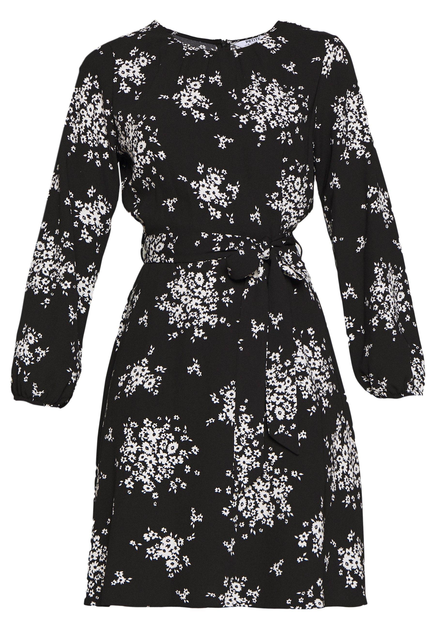 Dorothy Perkins Petite Petites Mono Cluster Floral Long Sleeve Fit And Flare Dress - Vardagsklänning Black