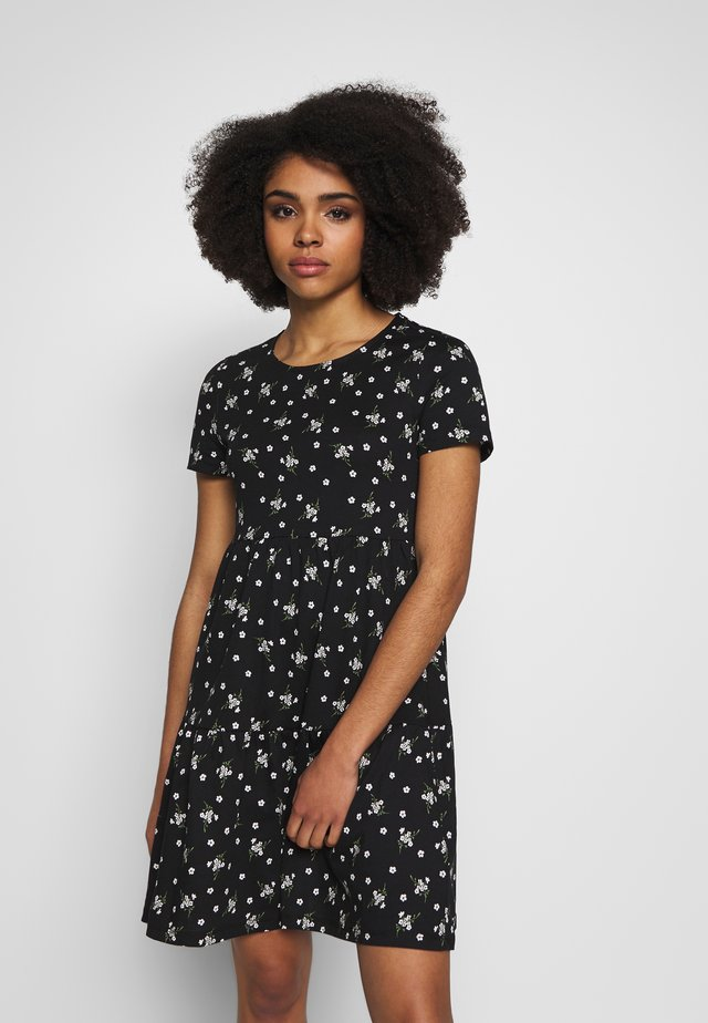 DITSY SMOCK DRESS - Jerseyklänning - black