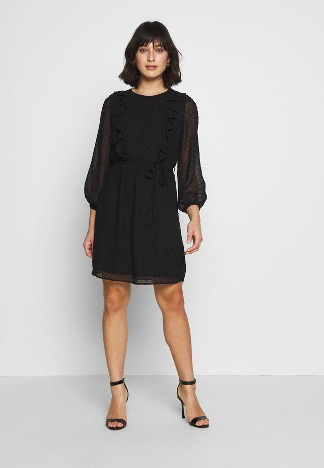 DOBBY FIT AND FLARE - Korte jurk - black