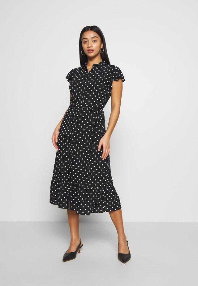 SPOT FRILL SHIRT DRESS - Shirt dress - black