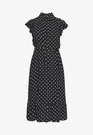 SPOT FRILL SHIRT DRESS - Skjortekjole - black