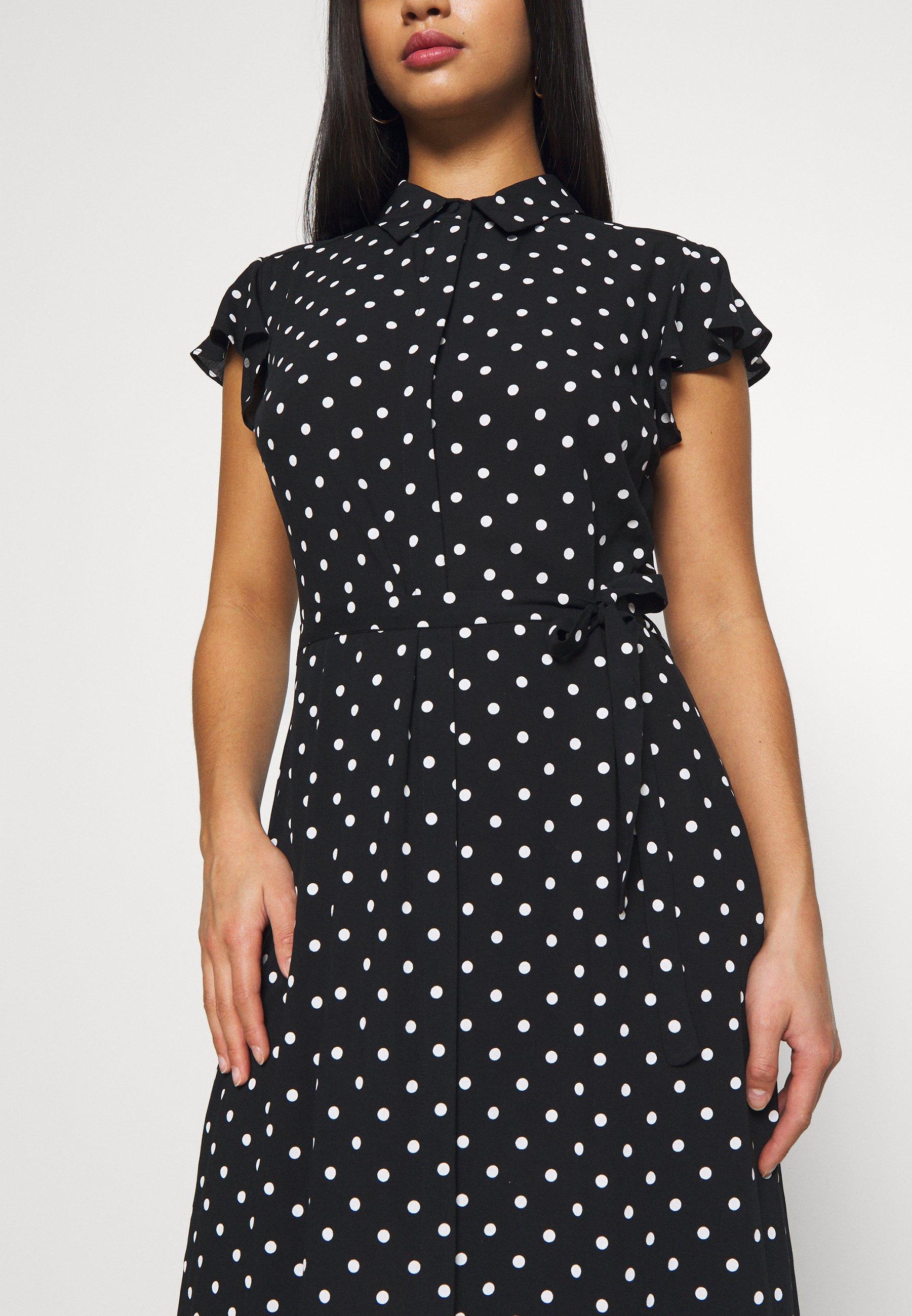 Dorothy Perkins Petite Spot Frill Shirt Dress - Black
