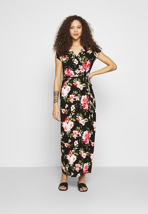FLORAL PRINT WRAP MAXI DRESS - Robe longue - black