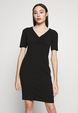 RUCHED FRONT BODYCON DRESS - Vestido de tubo - black