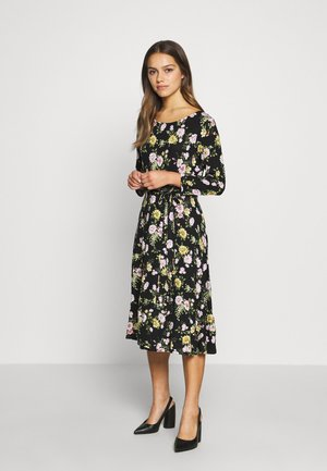 BILLIE SLEEVE FLORAL MIDI DRESS - Jerseykjole - black