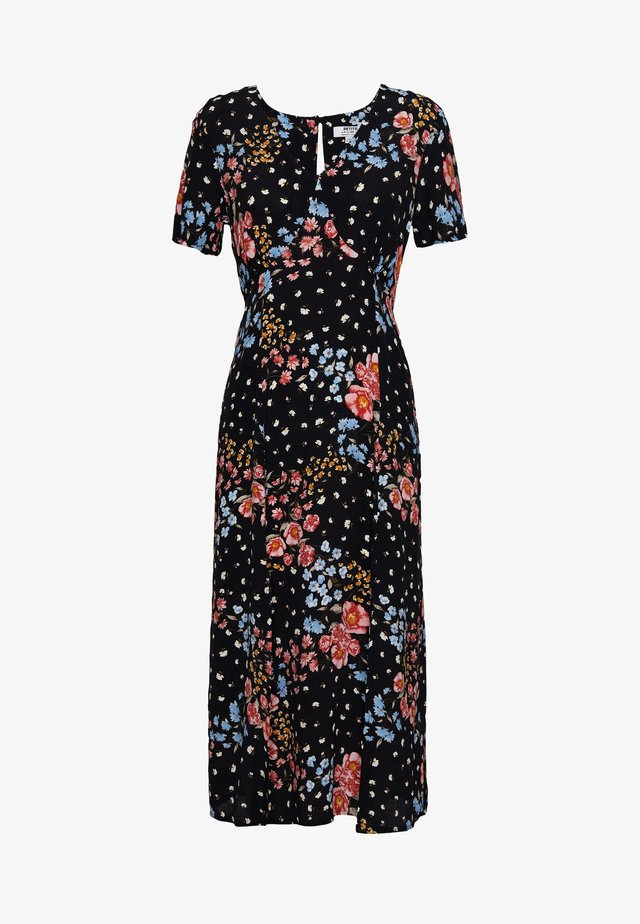 FLORAL FRONT TEA DRESS - Korte jurk - black