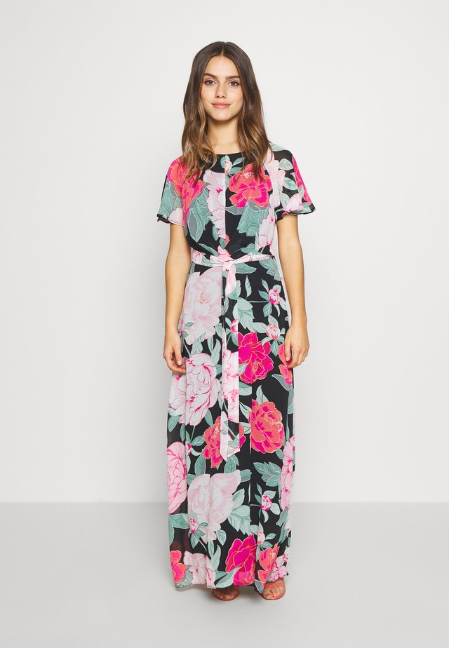 PETITE FLORAL PLEAT FRONT KEYHOLE MAXI DRESS - Robe longue - black