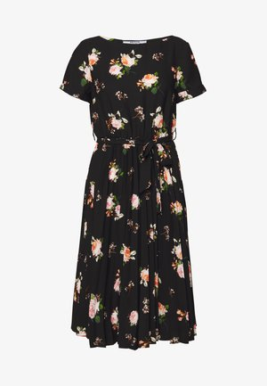 FLORAL SLEEVE DRESS - Vestido informal - black