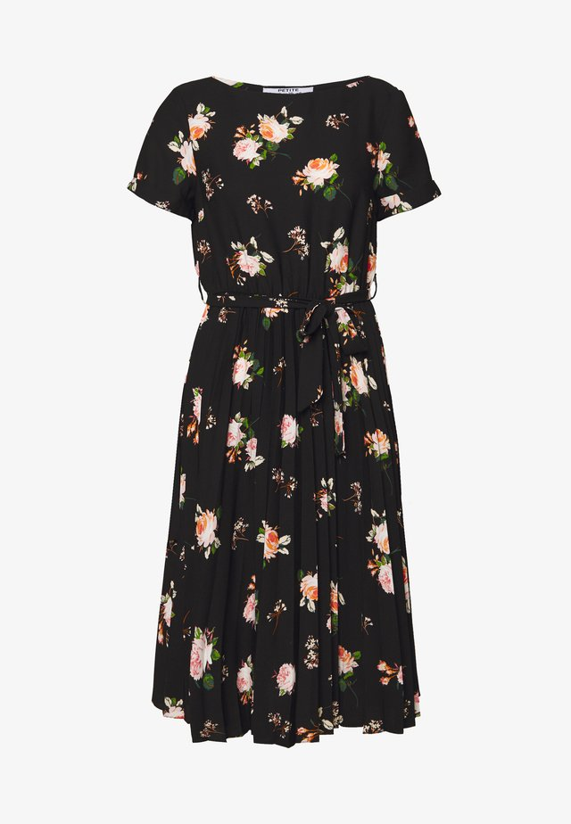 FLORAL SLEEVE DRESS - Robe d'été - black