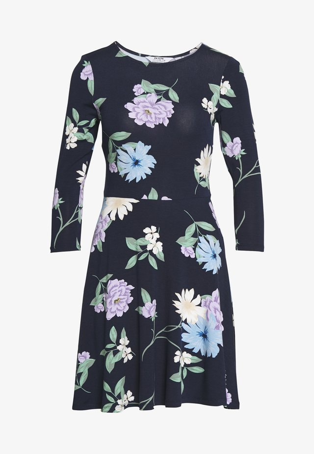 PETITES CAMEL FIT AND FLARE DRESS - Sukienka z dżerseju - navy