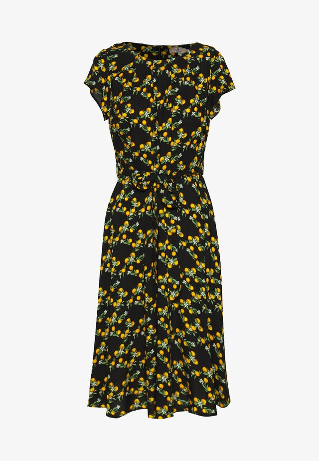BILLIE DITSY PRINT MIDI FIT AND FLARE - Day dress - black