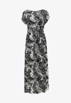 PALM PRINT ROLL SLEEVE DRESS - Maxi dress - black