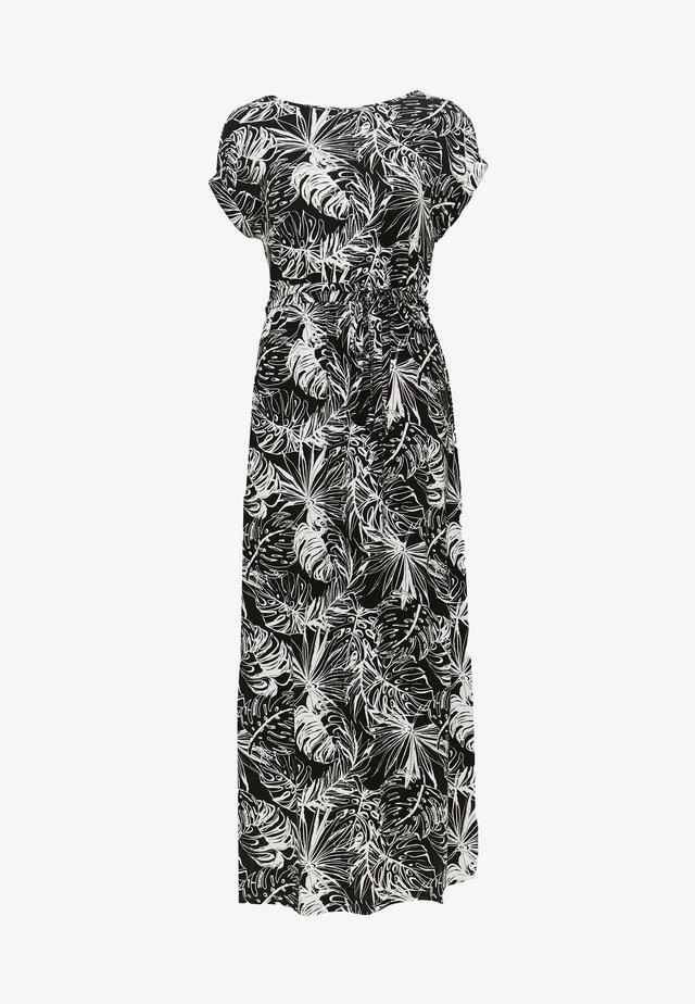 PALM PRINT ROLL SLEEVE DRESS - Maxi-jurk - black