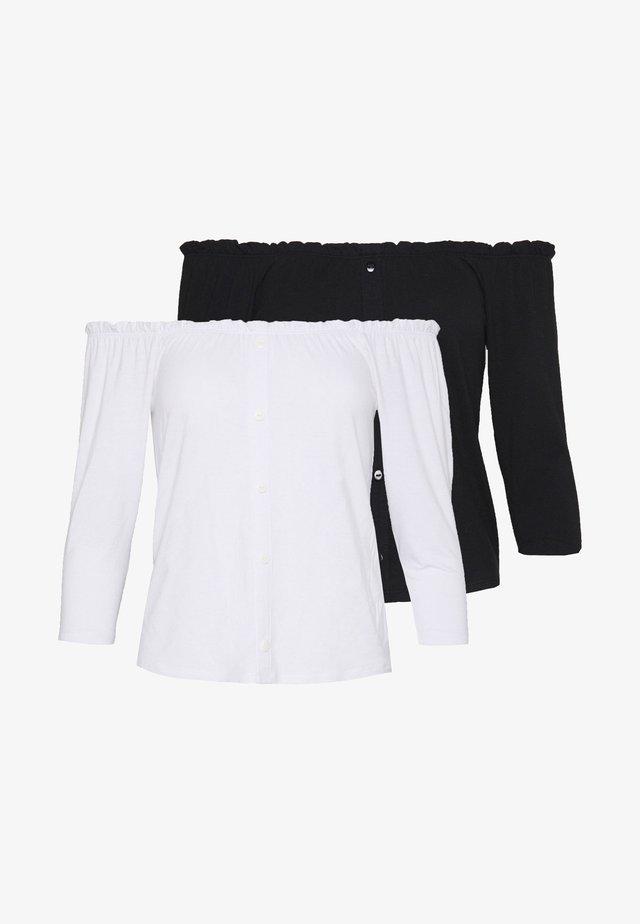 PETITE 2 PACK SLEEVE MILKMAID - Långärmad tröja - black / white