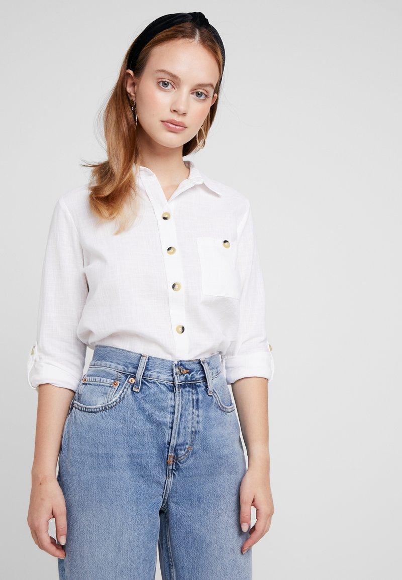 Dorothy Perkins Petite - SLUB - Button-down blouse - ivory