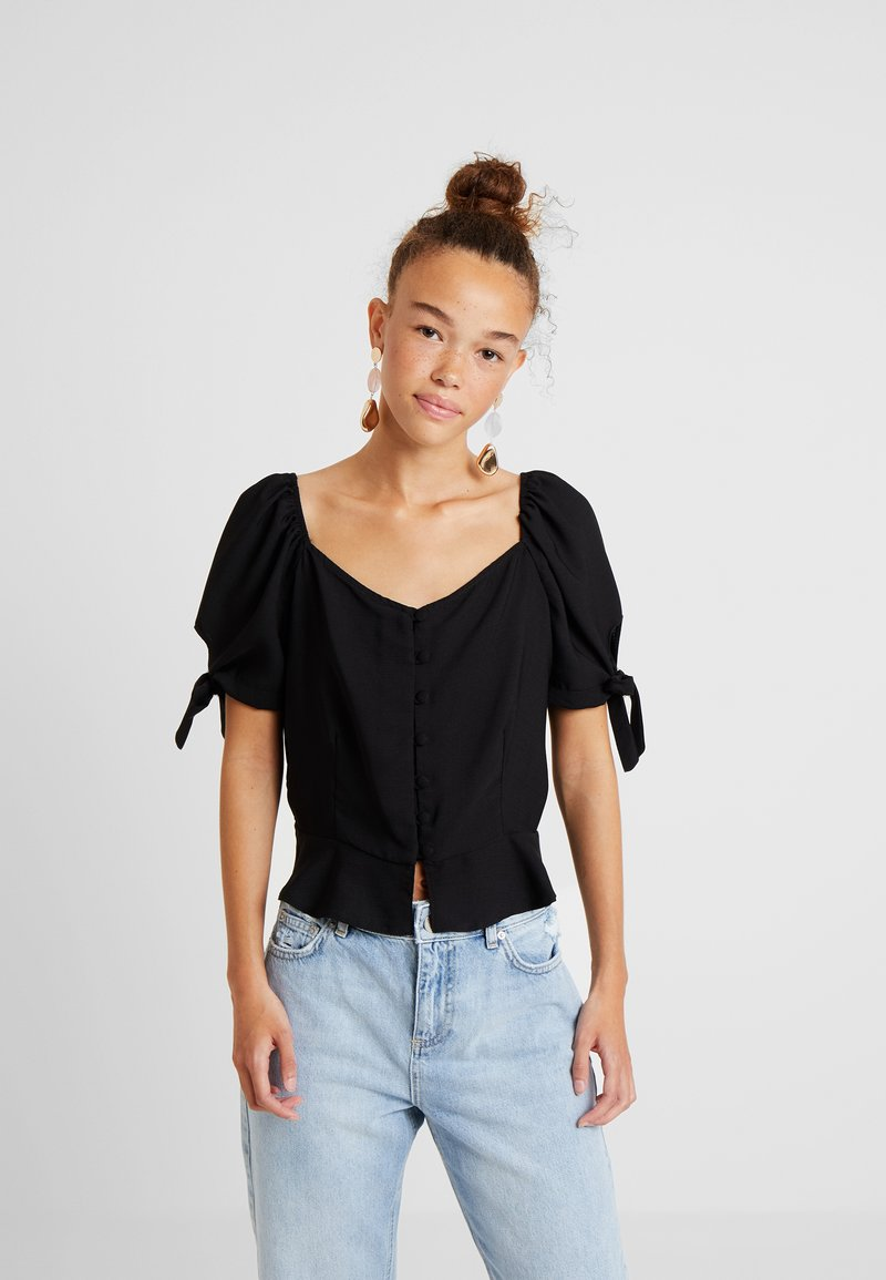 Dorothy Perkins Petite - BUTTON DOWN MILKMAID - Blouse - black