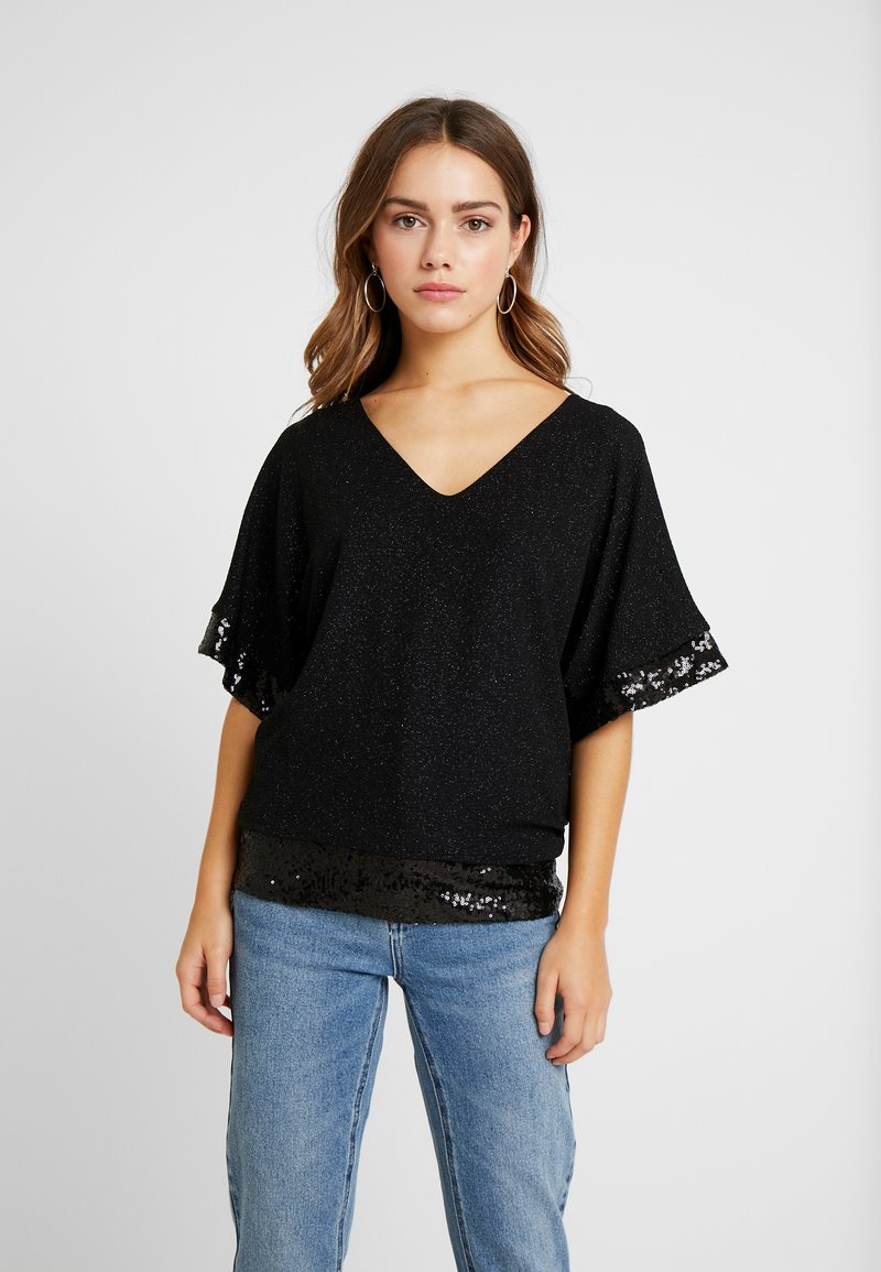 Dorothy Perkins Petite - GLITTER SEQUIN TRM BATWING - T-shirts med print - black