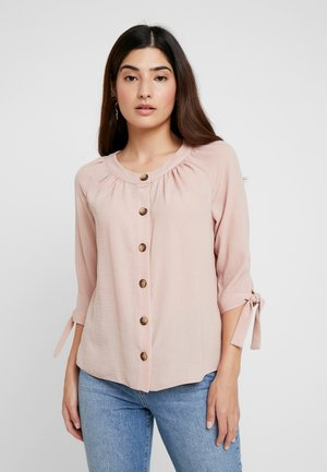 ROUND NECK TIE SLEEVE - Button-down blouse - pink