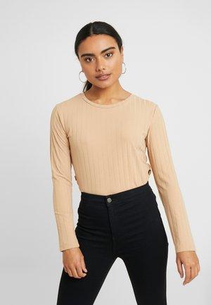 BUTTON SIDE LONGSLEEVE - Bluzka z długim rękawem - beige
