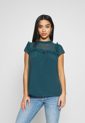 RUFFLE NECK YOKE - Pusero - green