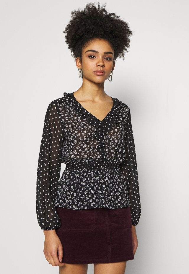 SPOT MIX AND MATCH RUFFLE LONG SLEEVE - Blus - black
