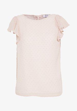 BLUSH DOBBY SHORT SLEEVE RUFFLE TOP - Pusero - pink