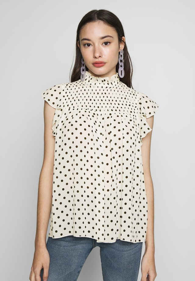 PETITES SHIRRED NECK TOP - Bluzka - off-white