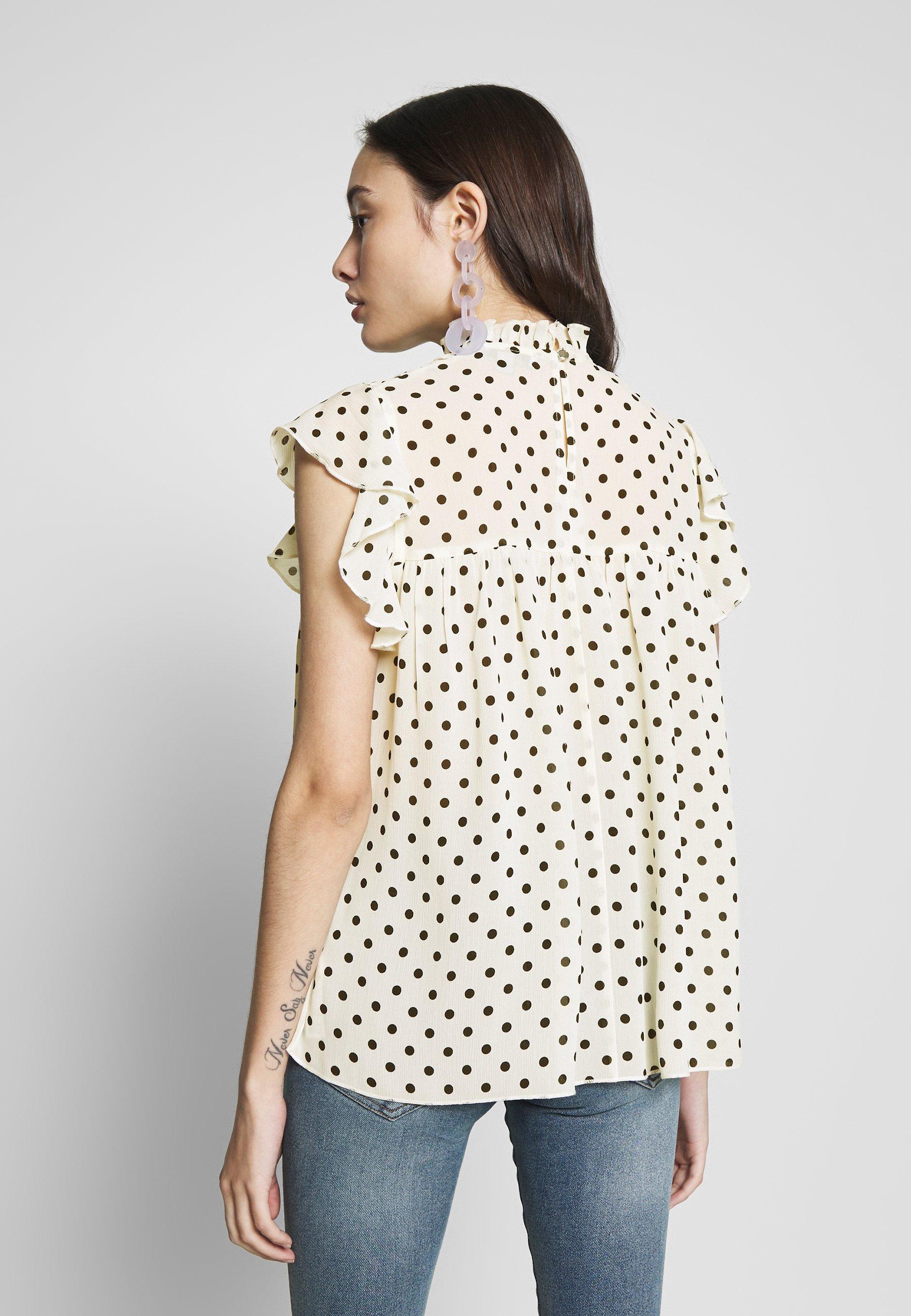 Dorothy Perkins Petite PETITES SHIRRED NECK TOP - Bluzka - off-white