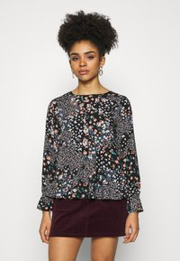 Dorothy Perkins Petite - BILLIE DITSY FLORAL LONG SLEEVE TIERED - Bluser - black - 0