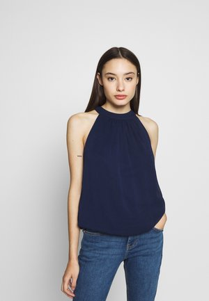 BUBBLE HEM HALTER TOP - Blouse - navy