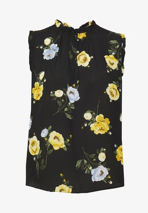BILLIE PETITE FLORAL NECK SLEEVELESS SHELL TO - Bluser - black
