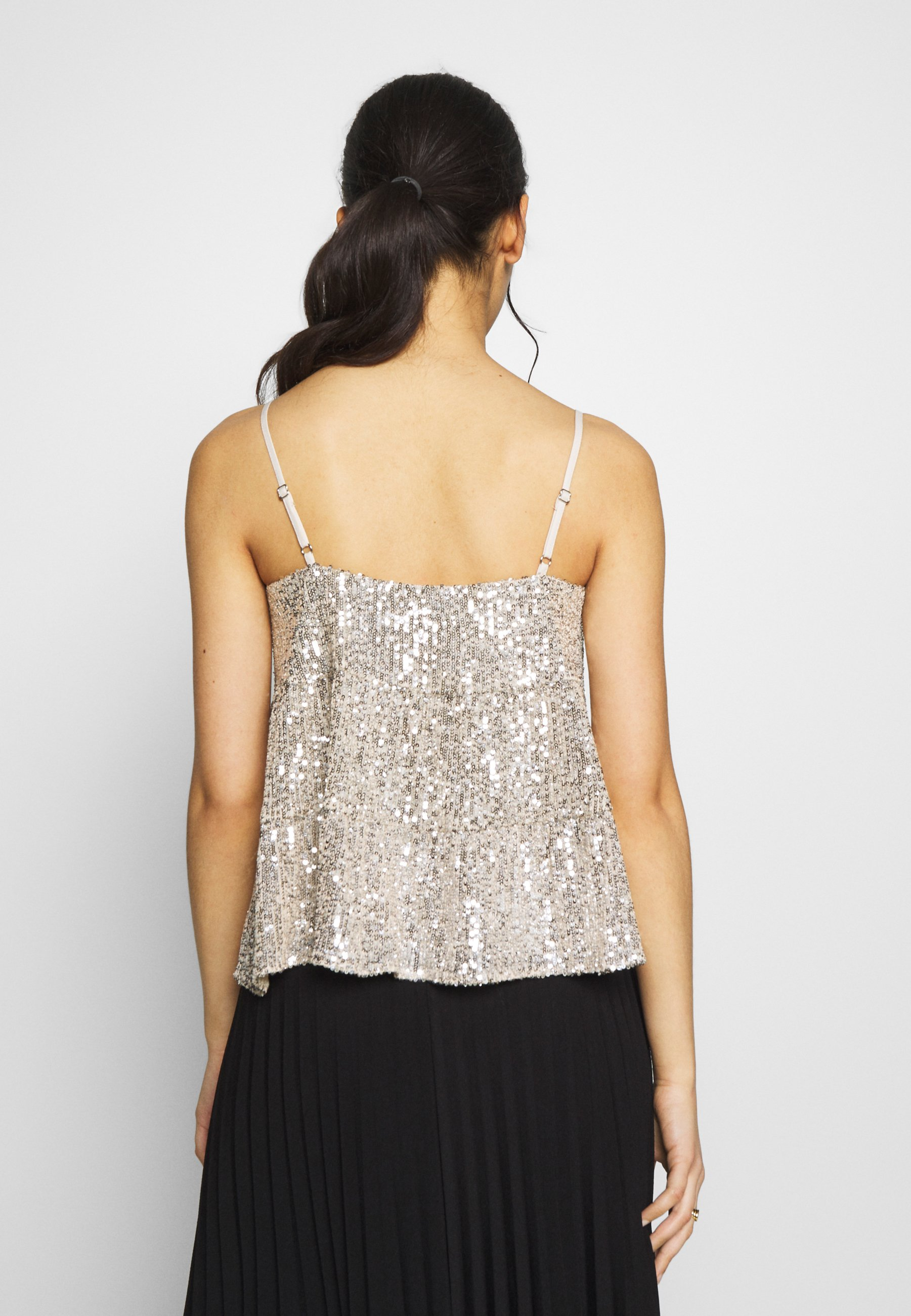 Dorothy Perkins Petite TIERED SEQUIN CAMI - Top - silver