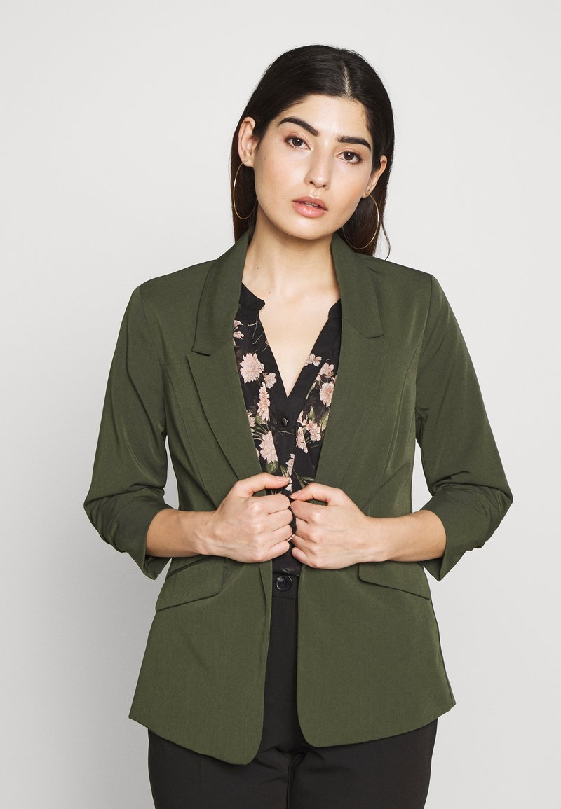Dorothy Perkins Petite - EDGE TO EDGE ROUCHED SLEEVE JACKET - Blazer - green