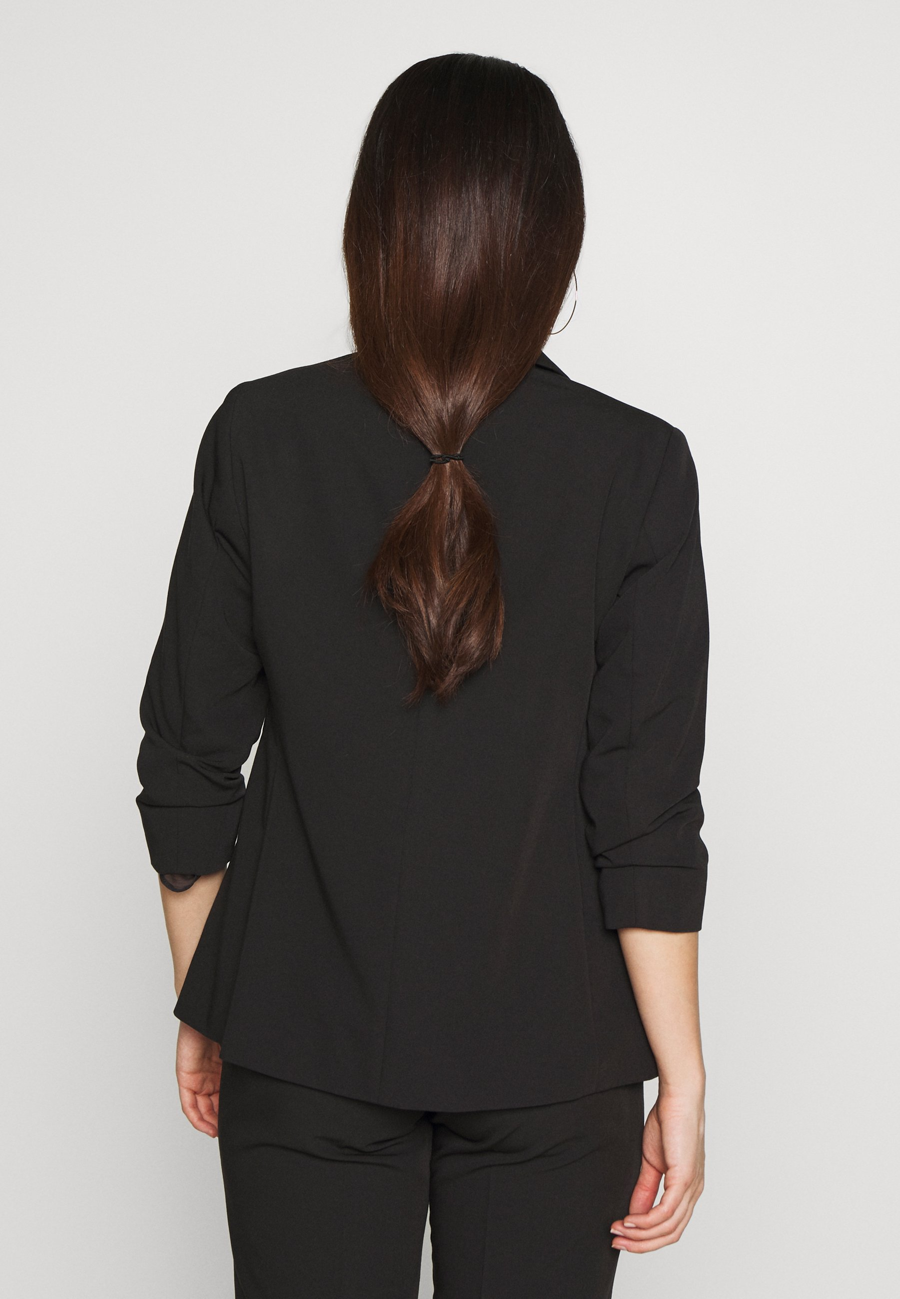 Dorothy Perkins Petite EDGE TO EDGE ROUCHED SLEEVE JACKET - Blazer - black