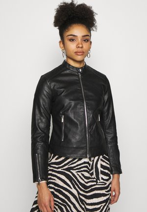 PETITES COLLARLESS - Faux leather jacket - black