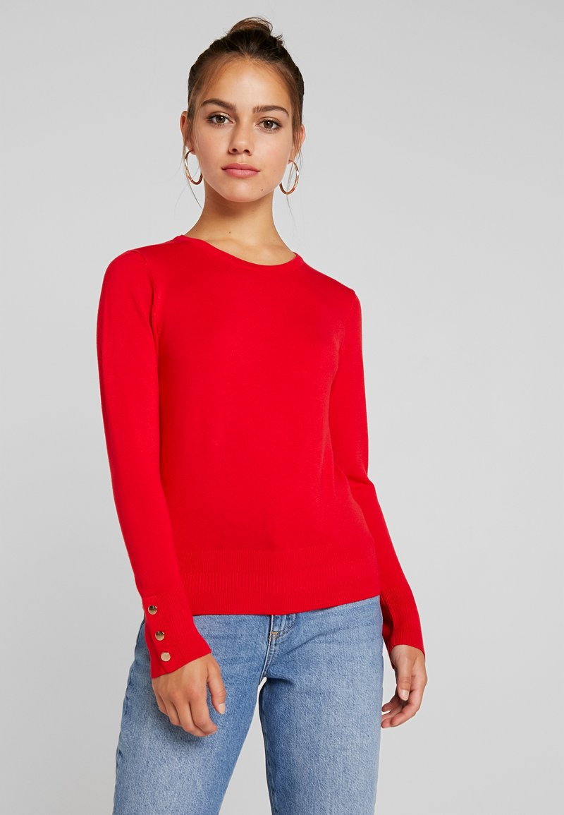 Dorothy Perkins Petite - FINE GAUGE BUTTON CUFF DETAIL - Strickpullover - tomato