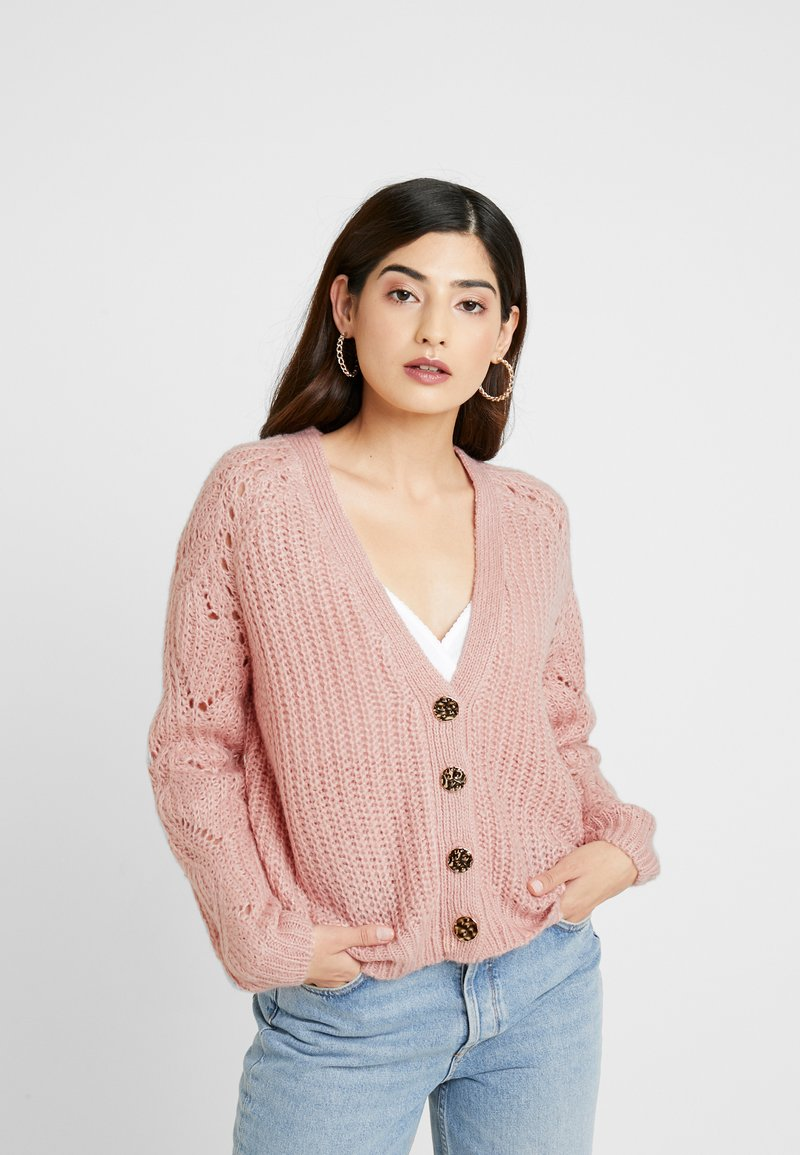Dorothy Perkins Petite - STITCH SLEEVE BUTTON CARDI - Cardigan - blush
