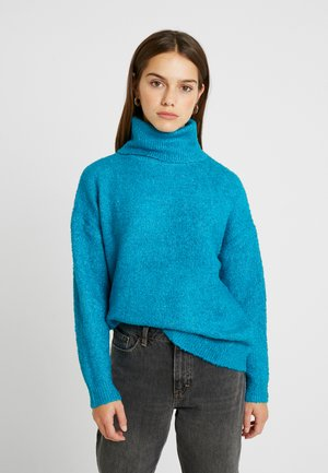 BOUCLE ROLL NECK - Pullover - peacock