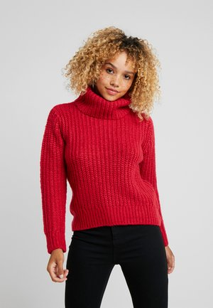 MID GAUGE CHUNKY ROLL NECK - Pullover - cerise