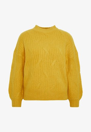 DIAGNONAL DETAIL HIGH NECK JUMPER - Jumper - ochre