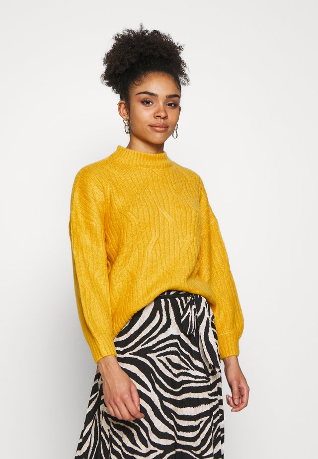 DIAGNONAL DETAIL HIGH NECK JUMPER - Sweter - ochre
