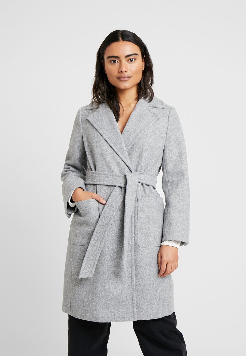 Dorothy Perkins Petite - PATCH POCKET WRAP COAT - Kappa / rock - grey