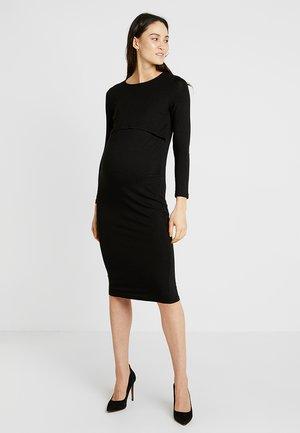 BLACK DOUBLE LAYER DRESS - Sukienka etui - black